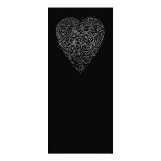 Black Heart. Patterned Heart Design. Rack Card