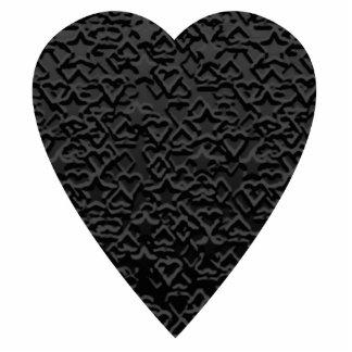 Black Heart. Patterned Heart Design. Statuette