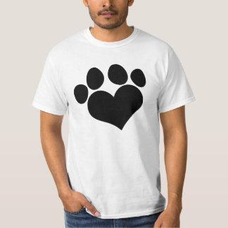 Black Heart Paw Print 2 T-Shirt