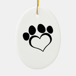 Black Heart Paw Print Double-Sided Oval Ceramic Christmas Ornament