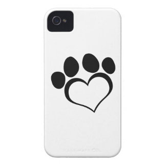 Black Heart Paw Print iPhone 4 Cover