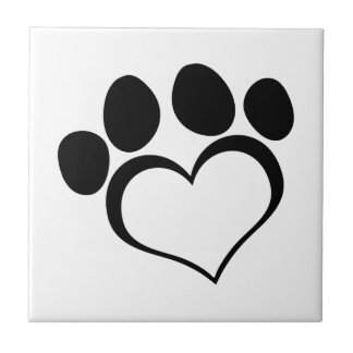 Black Heart Paw Print Small Square Tile