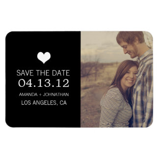 Black Heart Photo Save The Date Magnet