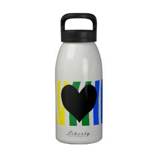 Black Heart Rainbow Zebra Stripes Drinking Bottles