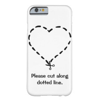 Black Heart Shaped Dotted Cut Line with Scissors Barely There iPhone 6 Case