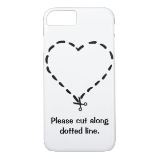 Black Heart Shaped Dotted Cut Line with Scissors iPhone 8/7 Case