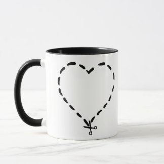 Black Heart Shaped Dotted Cut Line with Scissors Mug