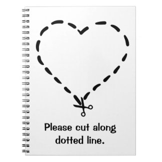 Black Heart Shaped Dotted Cut Line with Scissors Notebook
