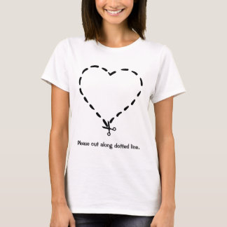 Black Heart Shaped Dotted Cut Line with Scissors T-Shirt