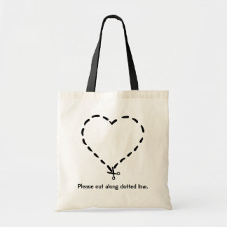 Black Heart Shaped Dotted Cut Line with Scissors Tote Bag