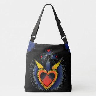 black heart shoulder tote