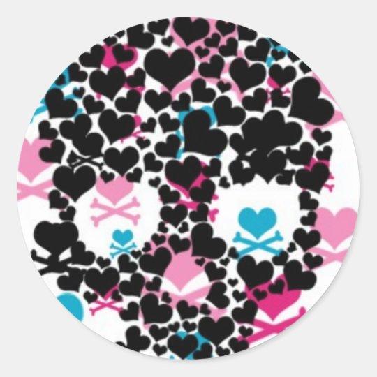 Black Heart Skull Classic Round Sticker