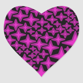 Black heart sticker with purple four pointed stars