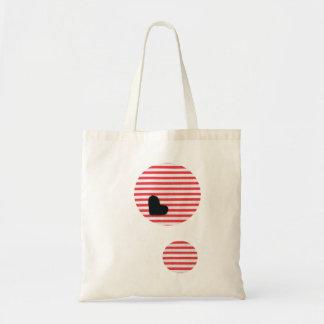 Black heart stripe (texture wind) budget tote bag