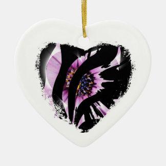 Black Heart Stripes Ceramic Ornament