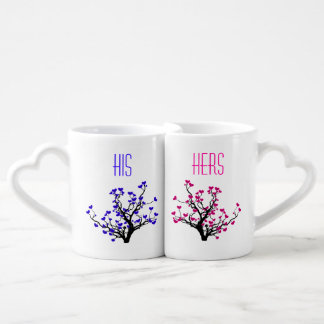 Black Heart Tree Romantic His Hers Lovers Mugs