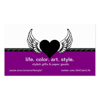 Black Heart, White Wings Custom Business Card