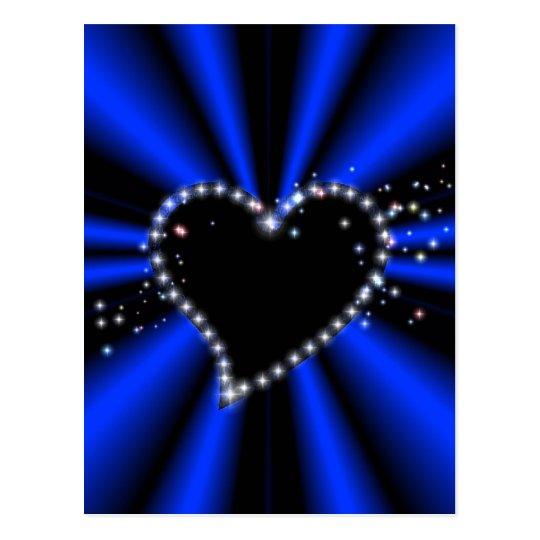 black heart with asterisks on blue - black postcard