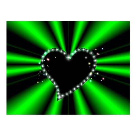 black heart with asterisks on green - black postcard