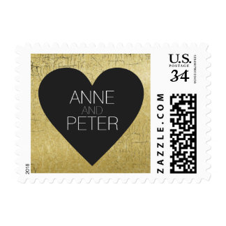 black heart with couple names, wedding love postage