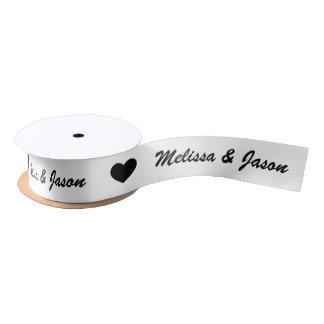 Black Heart With Custom Wedding Couple Names Satin Ribbon