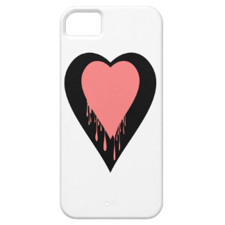 black heart with dripping peach color iPhone SE/5/5s case