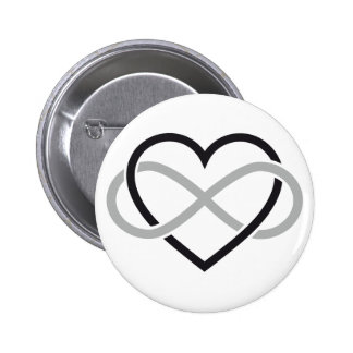 Black heart with infinity sign 2 inch round button