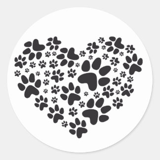 black heart with paws, animal foodprint pattern classic round sticker