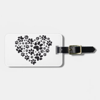 black heart with paws, animal foodprint pattern luggage tag