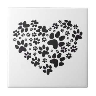 black heart with paws animal foodprint pattern tile