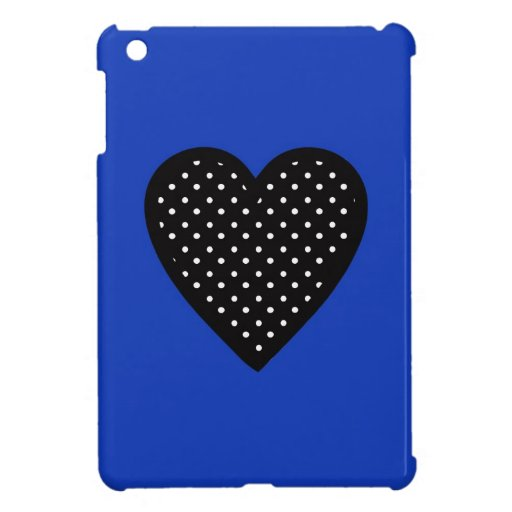 Black Heart with Polka Dots on Blue Background iPad Mini Cases