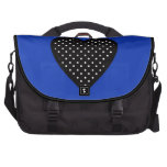 Black Heart with Polka Dots on Blue Background Laptop Bag