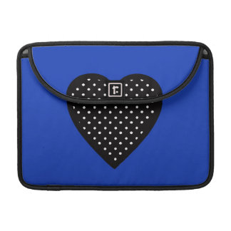 Black Heart with Polka Dots on Blue Background Sleeve For MacBooks