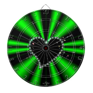 black Heart with Stars on black and green Dart Boards