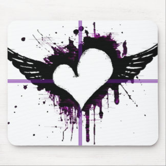 Black Heart with Wings Mousepad