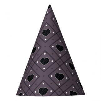 Black Hearts And Dots Plaid Pattern Party Hat
