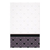 Black Hearts And Dots Plaid Pattern With Border Stationery