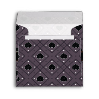 Black Hearts And Dots Plaid Pattern With Initial Envelope