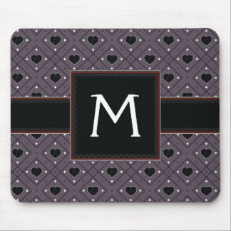 Black Hearts And Dots Plaid Pattern With Initial Mouse Pad