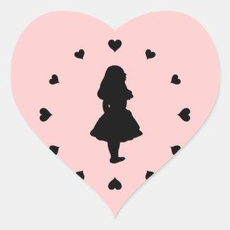 Black Hearts Around Alice Heart Stickers