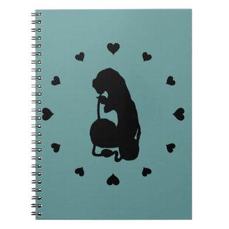 Black Hearts Around the Caterpillar Spiral Notebook