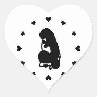 Black Hearts Around the Caterpillar Sticker