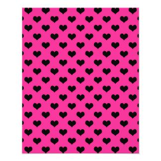 Black Hearts Hot Pink Background Polka Dot Heart Photo Print