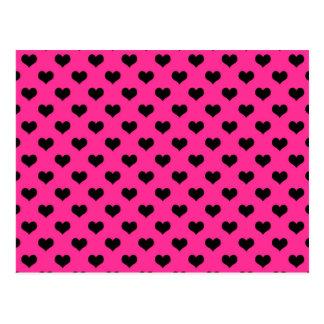 Black Hearts Hot Pink Background Polka Dot Heart Postcard