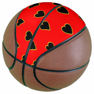 Black Hearts on a Red Background Love and Romance Basketball