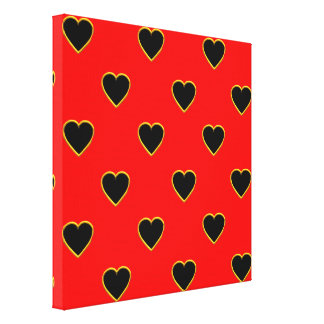 Black Hearts on a Red Background Love and Romance Canvas Print
