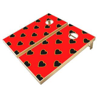 Black Hearts on a Red Background Love and Romance Cornhole Set