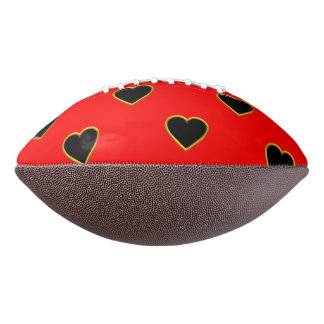 Black Hearts on a Red Background Love and Romance Football