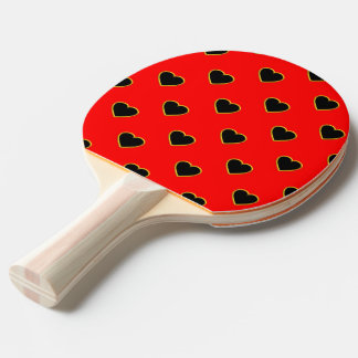 Black Hearts on a Red Background Love and Romance Ping Pong Paddle