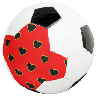 Black Hearts on a Red Background Love and Romance Soccer Ball